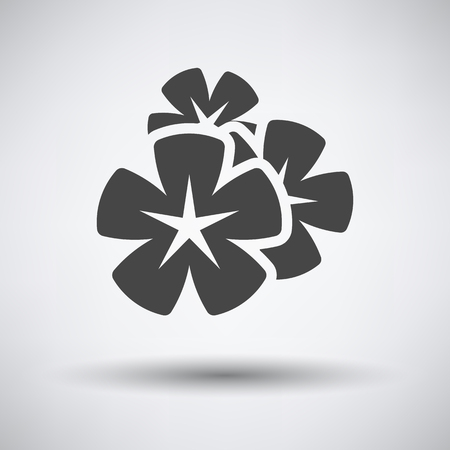 Frangipani flower icon on gray background with round shadow. Vector illustration. Illustration