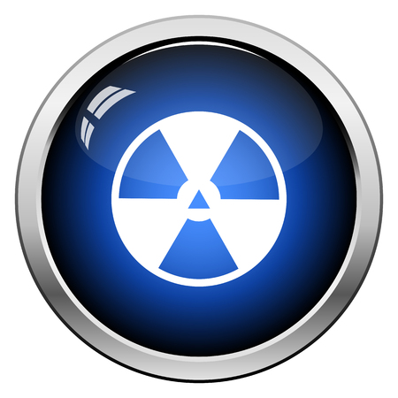 Radiation Icon. Glossy Button Design. Vector Illustration.