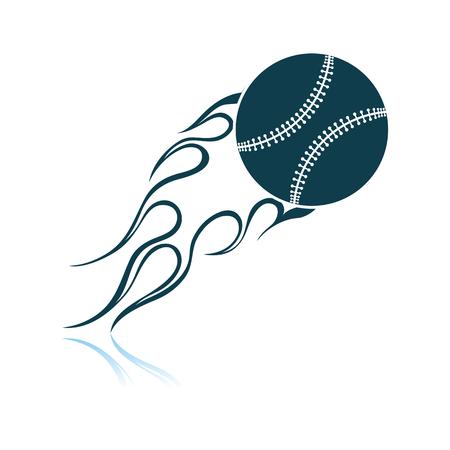 Baseball Fire Ball Icon. Shadow Reflection Design. Vector Illustration. Illustration