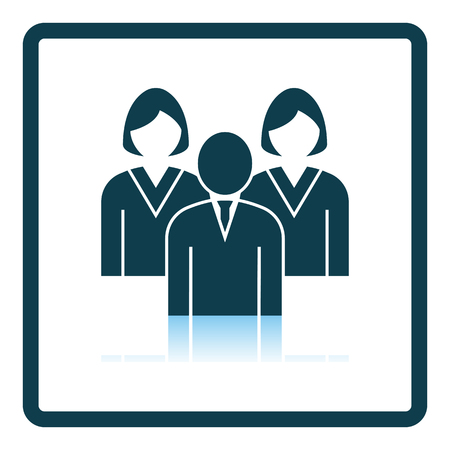 Corporate Team Icon. Square Shadow Reflection Design. Vector Illustration.