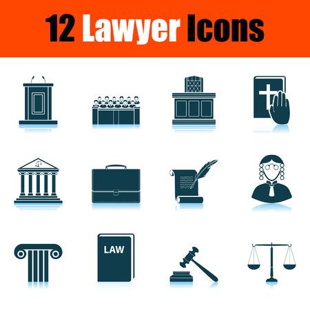 Lawyer Icon Set. Shadow Reflection Design. Vector Illustration.