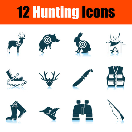 Hunting Icon Set. Shadow Reflection Design. Vector Illustration. Vettoriali