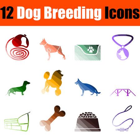 Dog Breeding Icon Set. Flat Color Ladder Design. Vector Illustration. Illustration