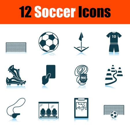 Soccer Icon Set. Shadow Reflection Design. Vector Illustration.