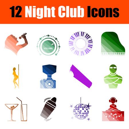 Night Club Icon Set. Flat Color Ladder Design. Vector Illustration.