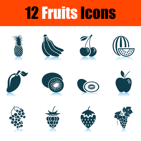 Fruits Icon Set. Shadow Reflection Design. Vector Illustration.