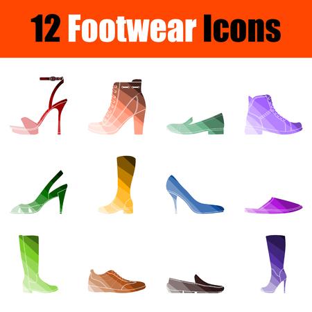 Footwear Icon Set. Flat Color Ladder Design. Vector Illustration.