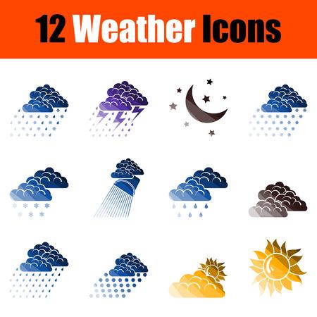 Weather Icon Set. Flat Color Ladder Design. Vector Illustration.