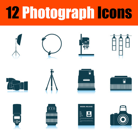 Photograph Icon Set. Shadow Reflection Design. Vector Illustration.