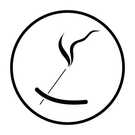 Incense Sticks Icon. Thin Circle Stencil Design. Vector Illustration.