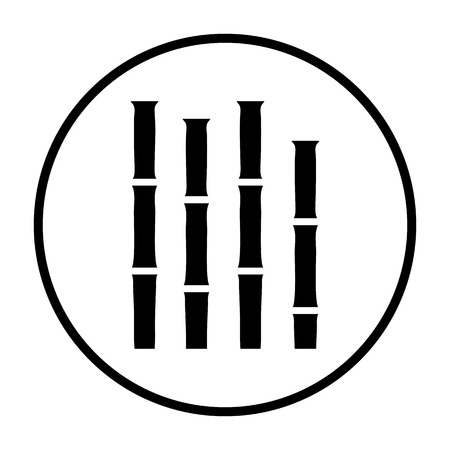 Bamboo Branches Icon. Thin Circle Stencil Design. Vector Illustration.