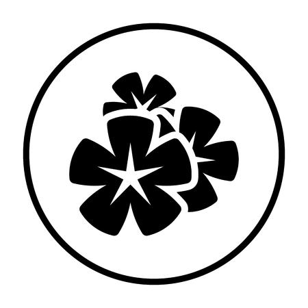Frangipani Flower Icon. Thin Circle Stencil Design. Vector Illustration. Illustration