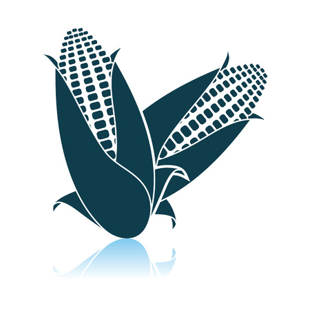 Corn Icon. Shadow Reflection Design.