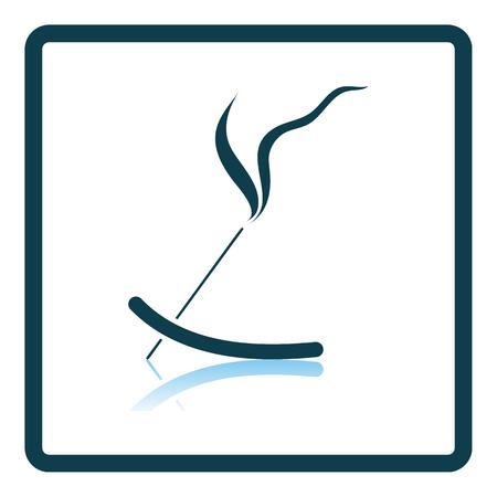 Incense Sticks Icon. Square Shadow Reflection Design.