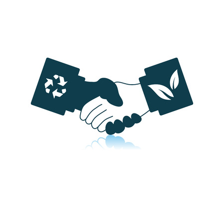 Ecological Handshakes Icon. Shadow Reflection Design.