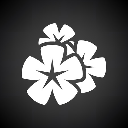 Frangipani Flower Icon. White on Black Background. Vector Illustration.