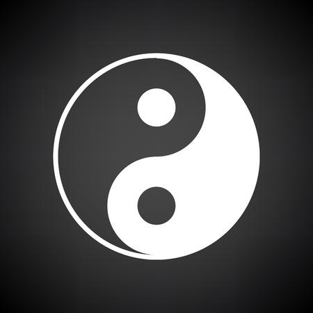 Icône Yin Et Yang. Blanc sur fond noir. Illustration vectorielle.