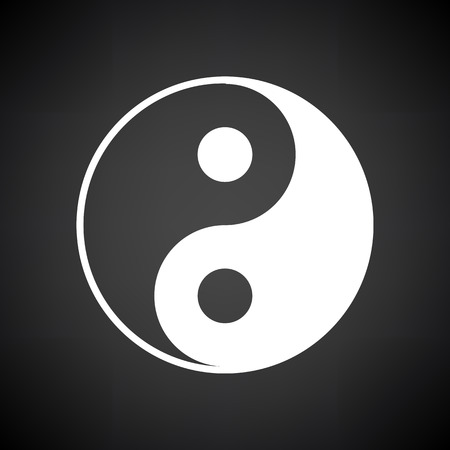 Yin And Yang Icon. White on Black Background. Vector Illustration.