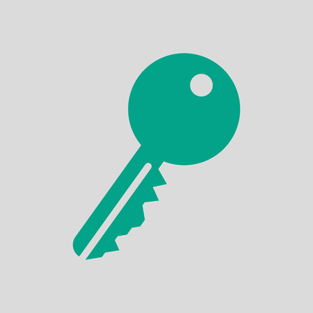 Key Icon. Green on Gray Background. Vector Illustration. Ilustrace