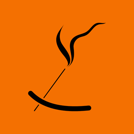 Incense Sticks Icon. Black on Orange Background. Vector Illustration. Illustration
