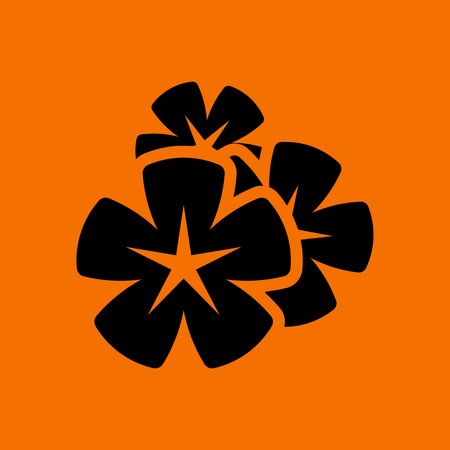 Frangipani Flower Icon. Black on Orange Background. Vector Illustration. Illustration