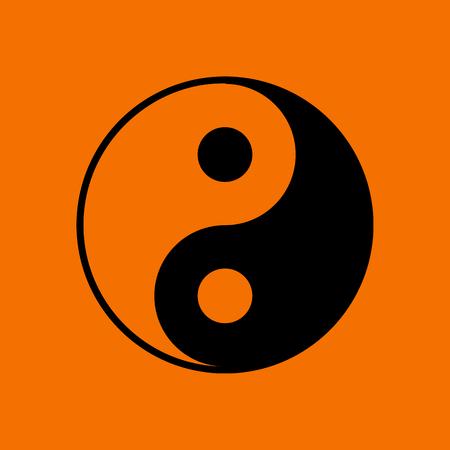 Yin And Yang Icon. Black on Orange Background. Vector Illustration.