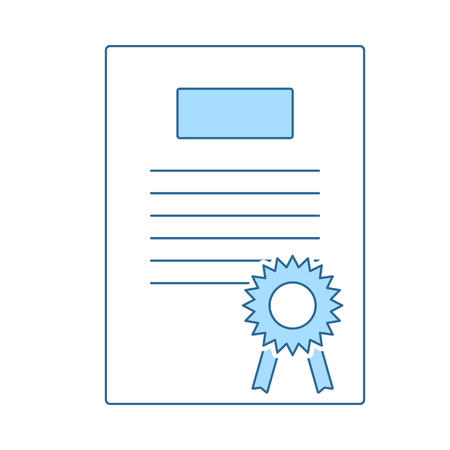 Diploma Icon. Thin Line With Blue Fill Design. Vector Illustration.