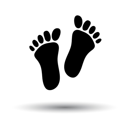 Foot Print Icon. Black on White Background With Shadow. Vector Illustration. Illustration