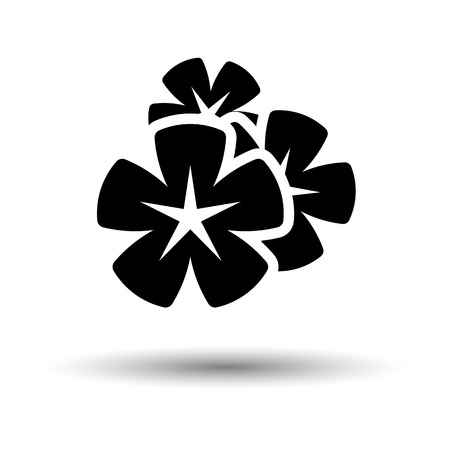 Frangipani Flower Icon. Black on White Background With Shadow. Vector Illustration.