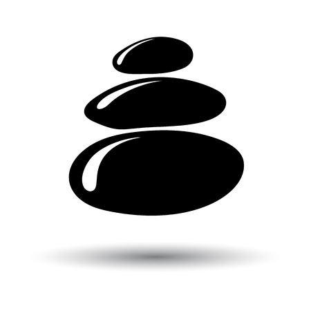 Spa Stones Icon. Black on White Background With Shadow. Vector Illustration.