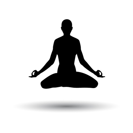 Lotus Pose Icon. Black on White Background With Shadow. Vector Illustration. Vettoriali