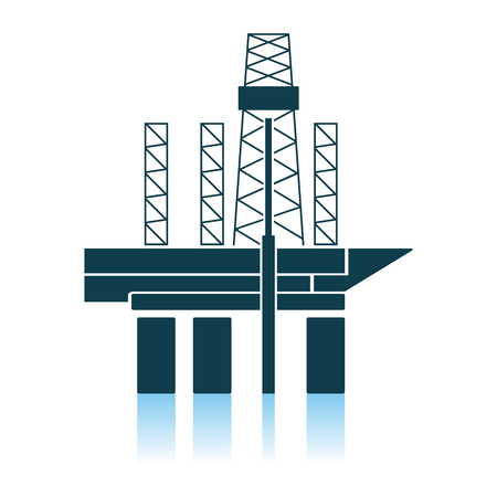 Oil Sea Platform Icon. Shadow Reflection Design. Vector Illustration. 矢量图像