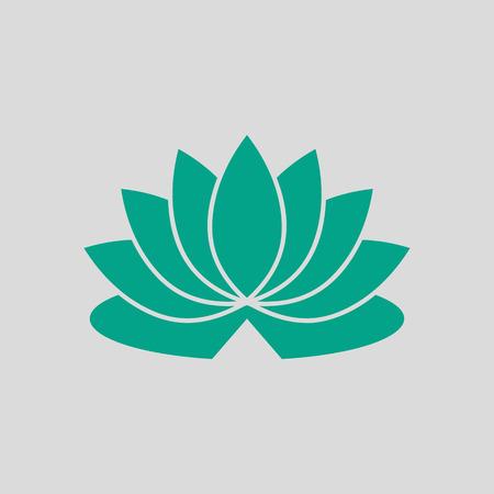 Ikona kwiat lotosu. Zielony na szarym tle. Ilustracja wektorowa. Ilustracje wektorowe