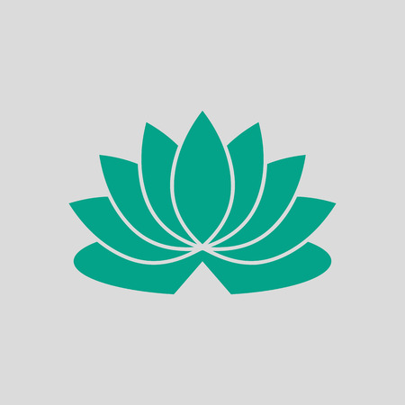Lotus Flower Icon. Green on Gray Background. Vector Illustration. Vetores