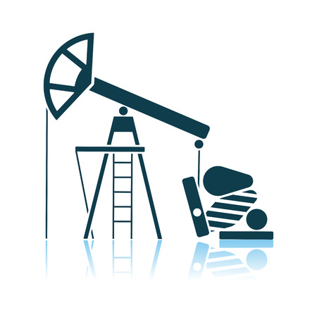 Oil Pump Icon. Shadow Reflection Design. Vector Illustration.