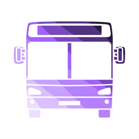 City Bus Icon Front View. Flat Color Ladder Design. Vector Illustration. Illustration