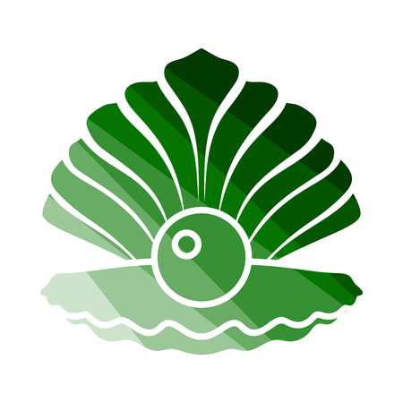Open Seashell Icon. Flat Color Ladder Design.