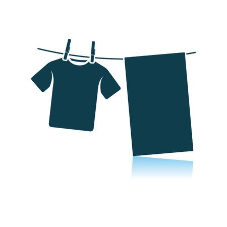 Drying Linen Icon. Shadow Reflection Design. Vector Illustration.