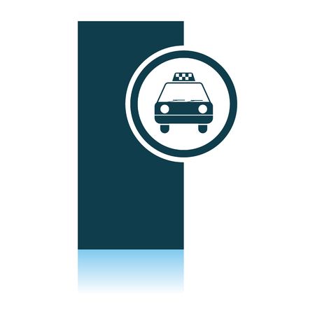 Taxi Station Icon. Shadow Reflection Design. Vector Illustration.