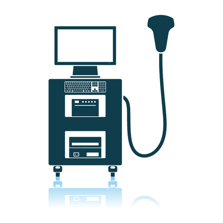 Ultrasound Diagnostic Machine Icon. Shadow Reflection Design.  イラスト・ベクター素材