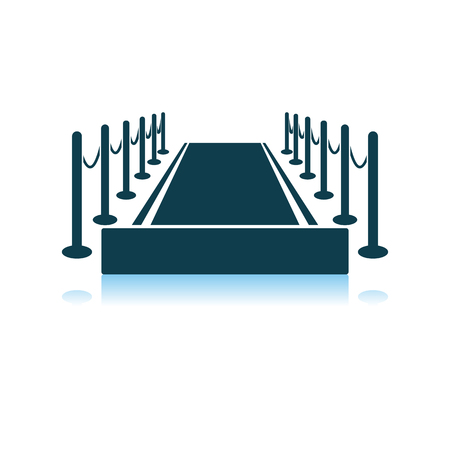 Red Carpet Icon. Shadow Reflection Design. Vector Illustration.