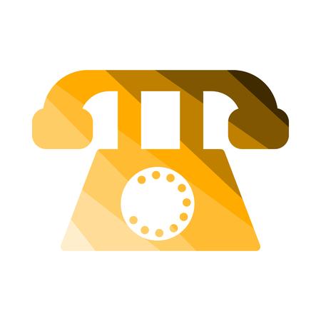 Old Phone Icon. Flat Color Ladder Design. Vector Illustration. Illustration