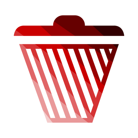 Trash Icon. Flat Color Ladder Design. Vector Illustration. Illustration