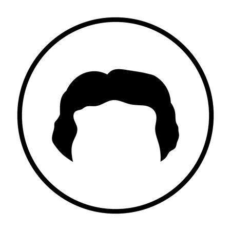 Man Hair Dress. Thin Circle Stencil Design. Vector Illustration.
