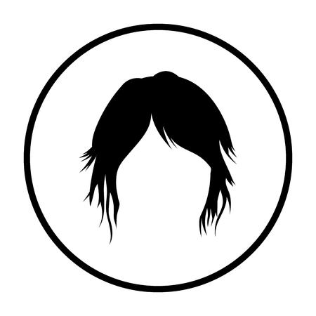 Woman Hair Dress. Thin Circle Stencil Design. Vector Illustration.