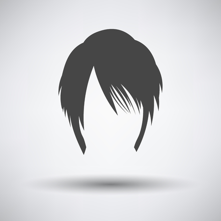 Woman Hair Dress. Dark Gray on Gray Background With Round Shadow. Vector Illustration.