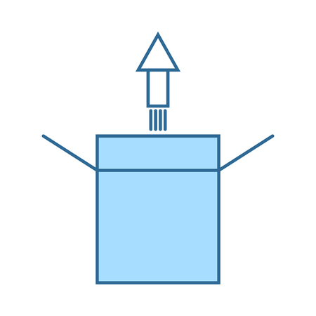 Product Release Icon. Thin Line With Blue Fill Design. Vector Illustration. 向量圖像