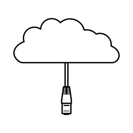 Netzwerk-Cloud-Symbol. Einfaches Design zu skizzieren. Vektor-Illustration. Vektorgrafik