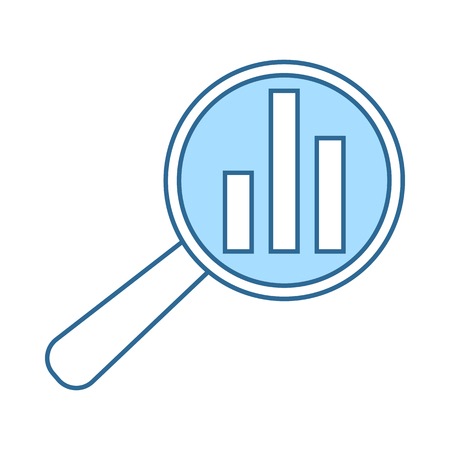 Analytics Icon. Thin Line With Blue Fill Design. Vector Illustration.