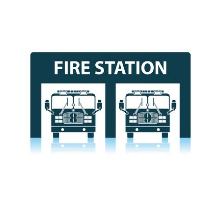 Fire Station Icon. Shadow Reflection Design. Vector Illustration.